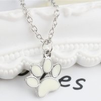 Wholesale Dog Puppy Jewelry - New Hot Cute Puppy Dog Paw Necklace Jewelry Alloy Pendant Necklaces Silver Plated Necklaces Gift Unisex