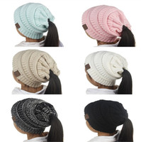 Wholesale Kids Hat Cotton - New Fashion Children CC Beanie Caps For 3 to 12 Year Old Winter Outdoor Warm Ponytail Hats Kids Girl Knitted Crochet Skull Beanies A307