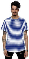 Wholesale T Shirt Bboy - Hot bboy stripe arc hem long T-shirts fringe hiphop streetwear fringe short sleeve long Tee streak T shirts