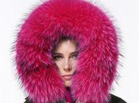 Wholesale Green Fur Hood Jackets - Mr & Mrs Furs Italy Women Fur-Trimmed mini Parka hood with raccoon collar real rabbit fur liner Green jacket