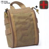 sacos médicos ao ar livre venda por atacado-Outdoor Caça emergência saco médico MOLLE First Aid Sports Survival Tactical Medical Bag Modular Camping Medic Bag Exército Verde Coyote CP