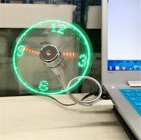 Wholesale Shipping Clocks China - New hot selling USB Mini Flexible Time LED Clock Fan with LED Light - Cool Gadget Free shipping Wholesale Store