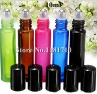 Wholesale Green Glass Roll Bottles - Wholesale 10ml Frosted Glass Roll On Bottle,Perfume Roller Bottle Essential Oil Bottle with Metal Ball Pink Green Blue Black Amber Color