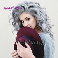 gris ombre encaje frente peluca al por mayor-Pelo gris plateado largo rizado peinado blanco gris color perruque sintético mujeres pelo cuerpo onda profunda pelucas sintéticas del frente del cordón