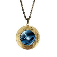 Wholesale Mix Vintage Necklaces - (12 Pieces Lot) 70CM Length Mix Cabochon Space Pendant Necklace Vintage Locket Jewelry Necklace 20MM Cabochon