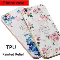 Wholesale cell phone soft cover case for iPhone s plus iPhone plus with relief hollow painted TPU phone shell