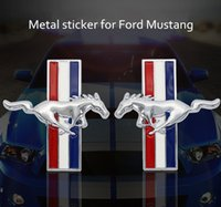 Wholesale ford styling accessories - Fashion Car Styling metal Stickers DIY 3D Car Sticker Funny for Ford mustang logo Accessories Sliver  Black