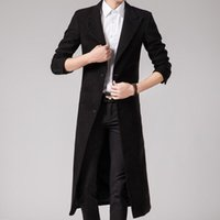 Wholesale Purple Tailored Jacket - Wholesale- Tailor-made Spring Autumn Winter Men's Fashion Casual Single Breasted Long Trench Coat Jacket Pea Coat Overcoat British Style