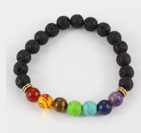 Wholesale crystal beads bracelet design - Design Mens Bracelets Black Lava 7 Chakra Healing Balance Beads Bracelet For Men Women Rhinestone Reiki Prayer Stones