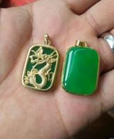 dragón de joyas de jade de plata al por mayor-Perlas y jade joyería de plata tibetana Rare China's Jade Verde chapado en oro Dragón reiki Amuleto colgante Collares