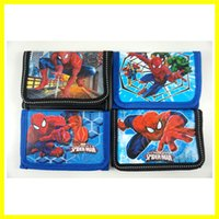 Wholesale Spiderman Kids Bags - Wholesale 60pcs New Cartoon Popular Spiderman Children's Kids Boys Various Stocking Filler Wallet Purse Coins Bag
