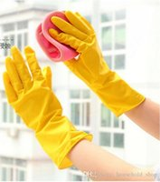 guantes impermeables para lavar platos al por mayor-Guantes para el hogar Goma para la limpieza Duradero del lavaplatos Guantes para el trabajo doméstico Cocina Lavandería Lavar el plato Ropa Guantes de goma impermeables SF