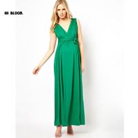 6e1a4fd5dfa7 Vestiti di maternità di marca vestiti lunghi da sera del collo a V vestito  per le donne incinte Vestito da promenade di gravidanza di alta qualità  Abiti ...