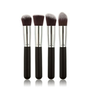 Wholesale Hair Manufactures - Wholesale No Logo Best Quality New Style Factory Manufactures 4pcs Big Makeup Brushes Set Wood Handle Easy to Wear Colors Free shipping