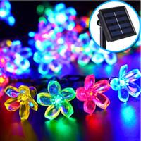 Wholesale purple flower string lights - New 50 LEDS 7M Peach Ledertek Flower Solar Lamp Power LED String Fairy Lights Solar Garlands Garden Christmas Decor For Outdoor