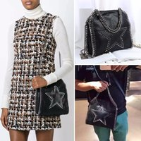 Wholesale Knit Cross Body Bags Black - Dropshiping factory sale falabella 18CM 25CM size shaggy deer pvc Hand-knit Star rivets crossbody Chain shoulder bag