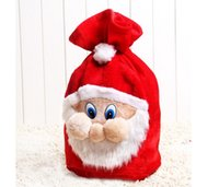 Wholesale Inkjet Recycling - New Chrismas Gift Bag X-mas Backpack Cartoon Santa Claus 50*37cm Super Soft Sack Christmas Candy Bag Drawstring