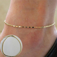 Boho Gold Tone Ankle Bracelet Link Chain Women Anklets Foot Chain Beach Jewelry Bracelets Foot Charms