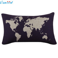 Wholesale Wholesale Plain Burlap Pillows - Wholesale- Ouneed Happy home 30*50CM Pillow Case Pillow Cover Living Room Home Decorate Burlap Square Pillowslip Map Pillow Shams