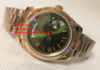 Wholesale Mens Automatic Watches 18k - Excellent High Quality Watch 41mm Day Date II 228235 18K Rose Gold Green Roman Dial Asia 2813 Movement Mechanical Automatic Mens Watches