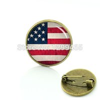 Wholesale Usa Flag Pins - Wholesale- American flag brooch Country logo art USA British Irish South African flag pins men women Vintage national symbolic badges t234