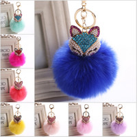 Wholesale Real Fox Fur Ball with Artificial Fox Head Inlay Pearl Rhinestone Key Chain for Womens Bag or Cellphone or Car Pendant C150Q