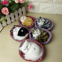 Wholesale Sleeping Cat Cute Plush - Wholesale-Simulation Sounding Sleeping Cats Plush Toy With Nest Kawaii Cute Doll Christmas Gifts