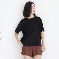 Wholesale Ladies Cloak Cotton - The new cotton back irregular irregular cloak burst summer ladies t shirt loose pure color Harajuku wind