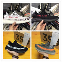 Wholesale Pink Stripe Fabric - Drop Shipping 2017 SPLY-350 Boost V2 New Kanye West Boost 350 V2 SPLY Running Shoes Grey Orange Stripes Zebra Bred Black Red.