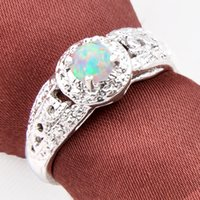 Wholesale Sterling Silver Fire Opal Jewelry - 2pcs lot Wholesale Holiday Jewelry Gift FREE SHIPPING Round White Fire Opal Gems 925 Sterling Silver Ring R0418