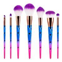 Wholesale colorful eye make up online - 7pcs Makeup Brushes Set Super Soft Foundation Eye Shadow Blush Eyebrow Face Powder Brush Kit Colorful Beautiful Make Up Brushes Tools