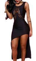 Wholesale See Through Womens Clothing - 2017 summer womens sexy club dresses Irregular hem dress bodyfit U scoop neck see through fashion woman clothing design all black cheap
