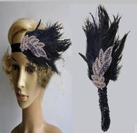 Wholesale Hairbands For Ladies - Pure DIY Retro Black Feather Headpieces Headdress Bride Little Hat Hair Ornaments For Ladies Prom Evening Party 2017