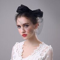 Wholesale Lady Elegant Hair - Elegant Lady Women Bridal Hats Fascinator Bow-knot Hair Clips Black and White Color Party Headdress Stage Show Hair Barrettes