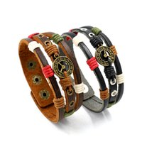 Wholesale Onyx Watches - Retro Knitted Clock Cowhide Female Charm Bracelets Buckle Wide Leather Watches and Clocks Couple Kewelry Circlet Wholesale