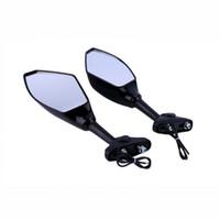 зеркало заднего вида для автомобилей оптовых-Универсальный черный светодиодный указатель поворота зеркало заднего вида для мотоцикла спортивного автомобиля