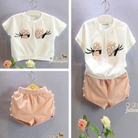 Wholesale Eyes Pants - Baby Clothes Summer Girls Short Sleeve White T-shirt TEE Shorts Beauty Flowers Pearl Big Eyes Pants Two-Piece Set Children Kids Clothing 499