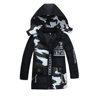 Wholesale Wholesale Childrens Sweatshirts - 2017 Boys Childrens Hooded Outwear Winter Long Sleeve Hoodies Letters Zipper Camouflage Sweatshirts Clothing Kids Boutique Clothes