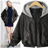 Wholesale Ladies Leather Jacket Large - 2017 brand new Women's Outerwear Europe wind autumn start large size ladies hooded loose leather jacket XL-4XL #9005