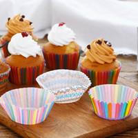 kekler için pişirme kağıdı toptan satış-1000 Adet Renkli Gökkuşağı Kağıt Kek Cupcake Liner Pişirme Muffin Kutu Fincan Vaka Parti Tepsi Kek Kalıp Dekorasyon Araçları Ücretsiz Kargo