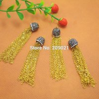 DIY 55mm Rhinestone Crystal Ends Cap Gold chapeado Metal Cadeias Tassel Charms Jewelry Making 20Set / lot