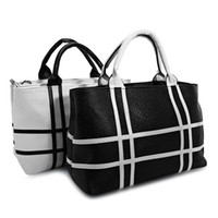 Wholesale Color Block Purses - Crocodile Stripe Tote Bag Women Shoulder Color Block Bags Black White Ladies Party Purse Wedding Clutches Handbags
