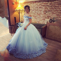 Wholesale quinceanera dress hot pink - 2017 Quinceanera Dresses Light Sky Blue Ball Gowns Off the Shoulder Corset Hot Selling Sweet 16 Prom Dresses with Hand Made Flowers