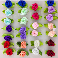 Wholesale Ribbon Flower Rose Appliques - 100Pcs DIY Satin Ribbon Roses Flower Appliques Scrapbooking Sewing Handmade Small Wedding Valentine's Party Craft Decor 9 Colors
