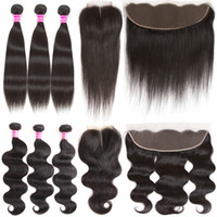 Wholesale remy hair wefts - Brazilian Virgin Hair Body Wave Straight Hair Bundles with Closure Remy Human Hair Extensions 3 Wefts and 13x4 Lace Frontal Weaves Closure