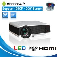 Frete Grátis Android 4,4 Full HD LED Daytime LCD 3D Wifi Smart Projector 5500lumens projetor projektor Beamer LED-86 Lamp business cinema