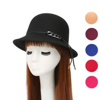 Wholesale Ladies Woolen Tops - Hot sale New autumn and winter British style pots ladies imitation wool woolen dome hat leather rope hat ceremony cap M018 with box