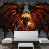 великолепные фото оптовых-Оптовая продажа-3D дракон фото обои большие обои уникальный интерьер арт-деко спальня детская комната PAPEL де parede 3D обои