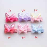 Wholesale Animal Ears - 2017 New Baby Hair Clips Bowknots Hairpins 24pcs lot Candy color Kids Hair clips Rabbit Ears Kids Hairpins Cartoon Animals