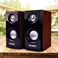 Wholesale Cheap Home Stereos - 2017 wholesale and retail high-quality cheap computer speakers USB45 magnetic speaker wire wood notebook 2.0 mini stereo good gift + compute
